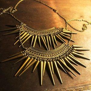 NWOT Tribal Boho Modern Antique Gold Necklace